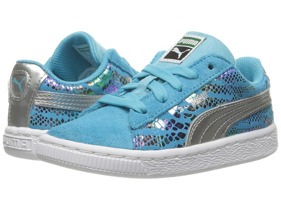 Puma Kids Suede Sportlux (Toddler) (Blue Atoll/Puma Silver) Girls Shoes