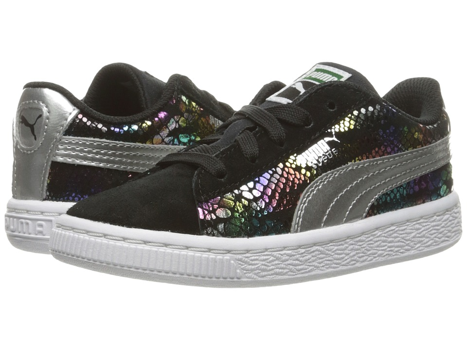 Puma Kids - Suede Sportlux (Toddler) (Puma Black/Puma Silver) Girls Shoes