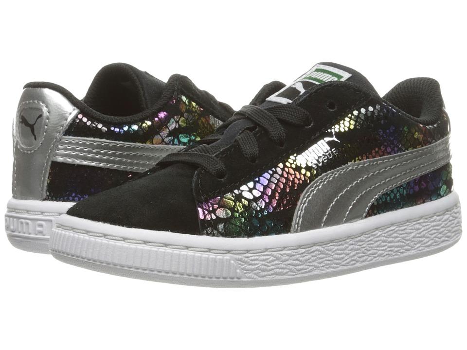 Puma Kids Suede Sportlux (Toddler) (Puma Black/Puma Silver) Girls Shoes