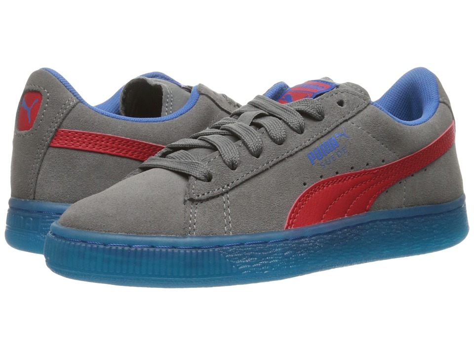 Puma Kids Suede LFS Iced (Big Kid) (Steel Gray/High Risk Red/Puma Royal) Boys Shoes