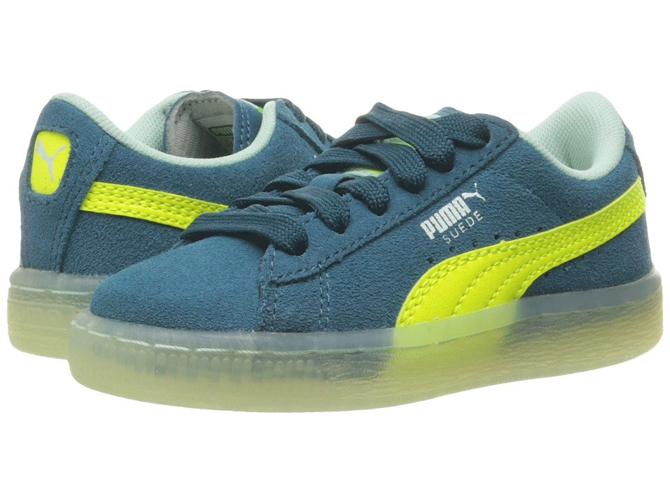 Puma Kids - Suede LFS Iced (Little Kid/Big Kid) (Blue Coral/Safety Yellow/Bay) Boys Shoes