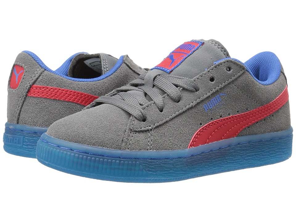 Puma Kids Suede LFS Iced (Little Kid/Big Kid) (Steel Gray/High Risk Red/Puma Royal) Boys Shoes
