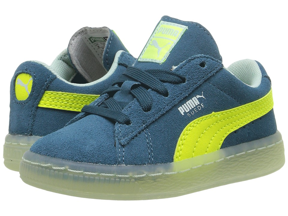 Puma Kids Suede LFS Iced (Toddler) (Blue Coral/Safety Yellow/Bay) Boys Shoes