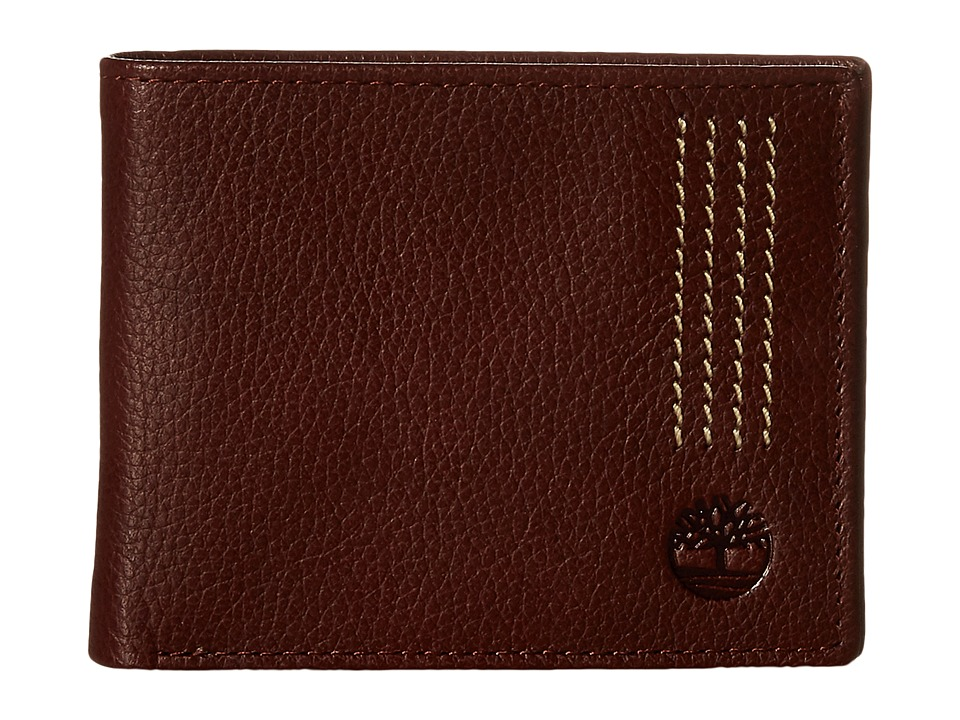 Timberland - Sportz Leather Quad Stitch Passcase Wallet (Brown) Wallet Handbags