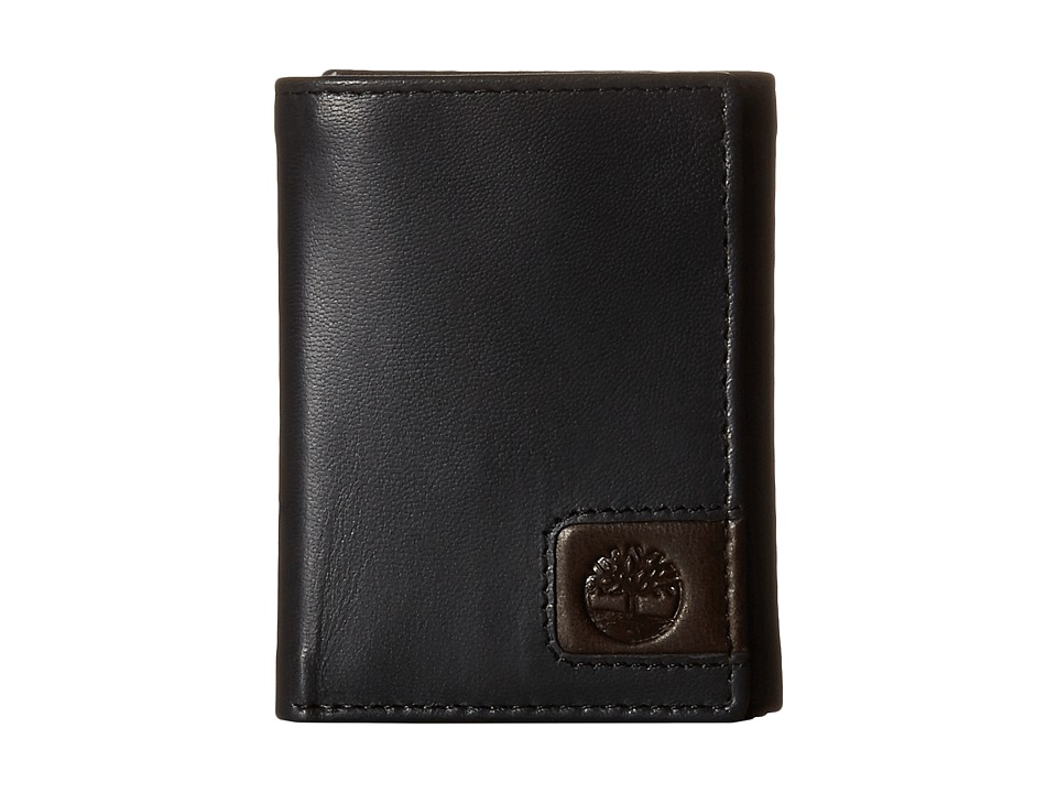 Timberland - Cloudy Leather Tab Trifold Wallet (Black) Wallet Handbags