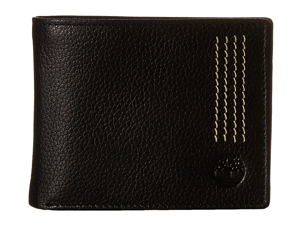 Timberland - Sportz Leather Quad Stitch Passcase Wallet (Black) Wallet Handbags