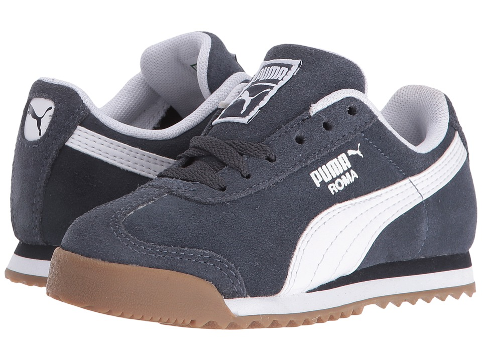 Puma Kids - Roma Suede (Little Kid/Big Kid) (Puma New Navy/Puma White) Boys Shoes