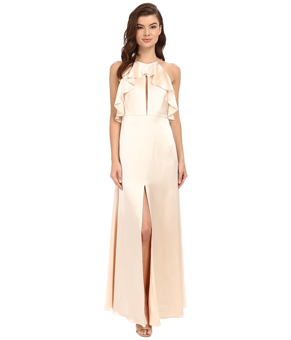 JILL JILL STUART Satin Back Crepe Halter Ruffled Neck Gown (Buttercream) Women