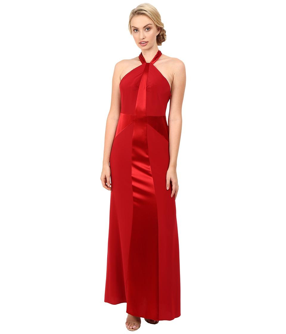 JILL JILL STUART Satin Back Crepe Halter Neck Gown Redwood Dress