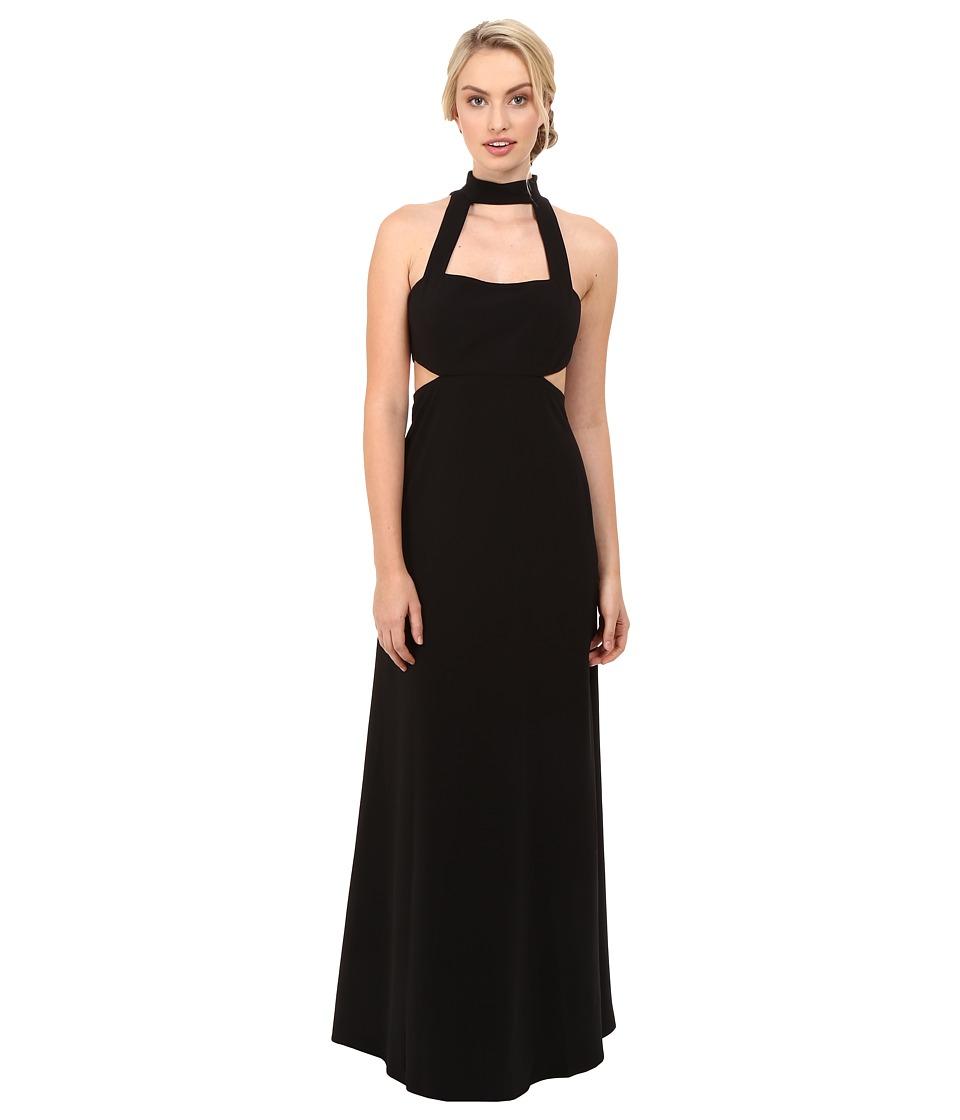 JILL JILL STUART - Sleeveless Collar Neck Side Cut Out Gown (Black) Women's Dress