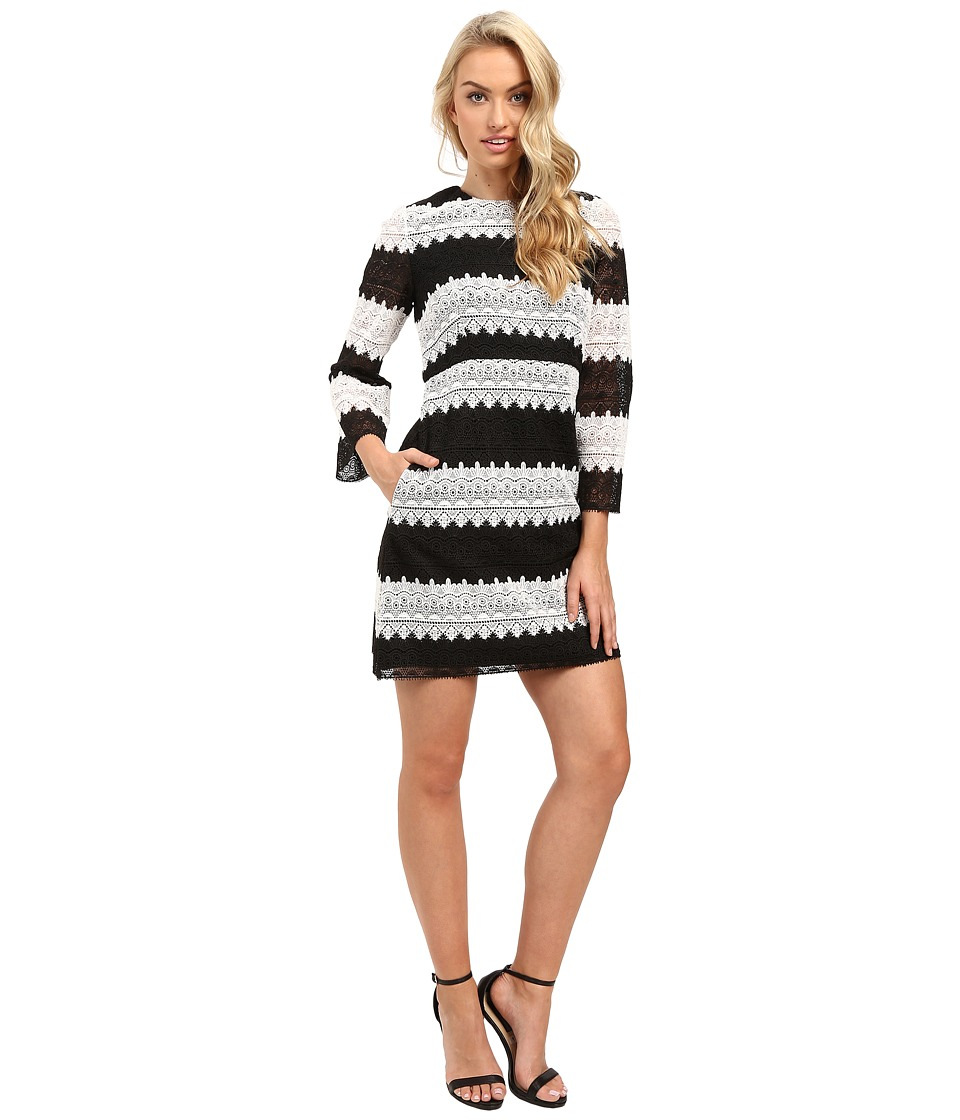 JILL JILL STUART - Two-Tone Lace Dress with Long Sleeves (Black/White) Women's Dress