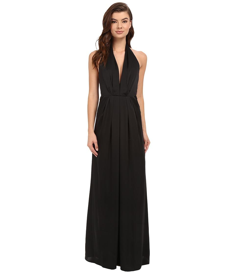JILL JILL STUART Halter Plunging Neck Gown (Black) Women