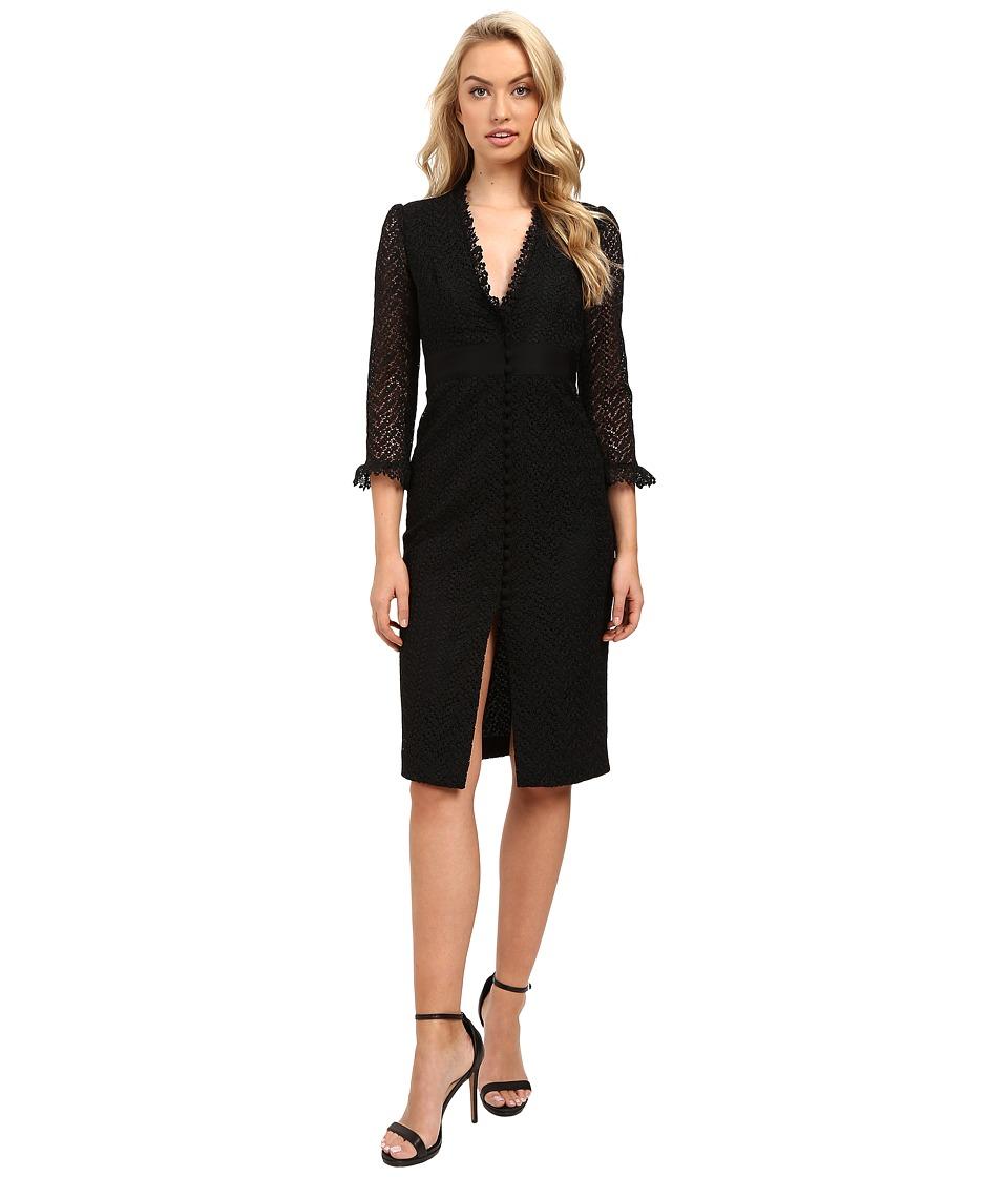 JILL JILL STUART - Deep-V Lace Dress (Black) Women's Dress