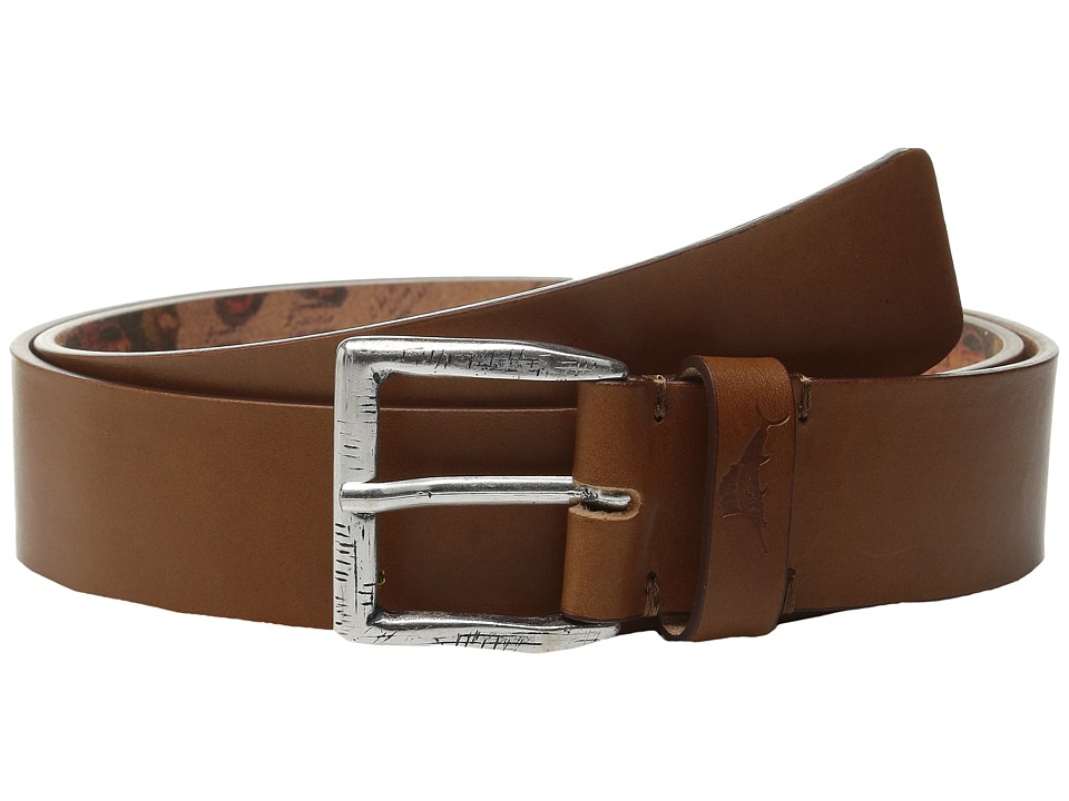 Tommy Bahama - Bridle Cut Belt with Map Print Lining (Tan) Men's Belts