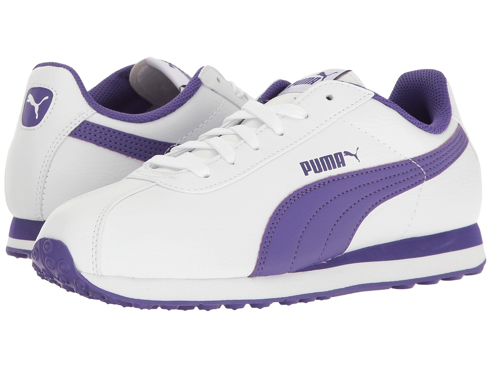 Puma Kids - Turin (Big Kid) (Puma White/Prism Violet) Girls Shoes