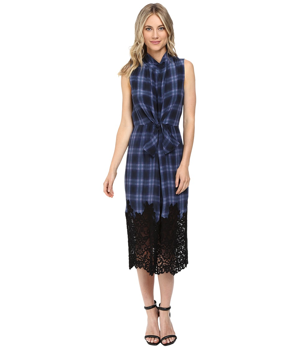 Rebecca Taylor Plaid Dress with Lace (Violet Stone Combo) Women