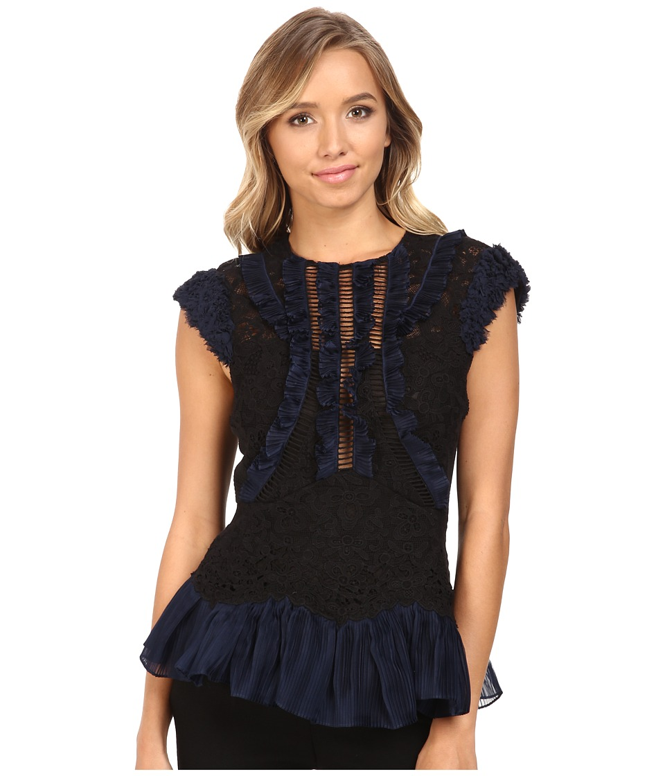 Rebecca Taylor - Vien Lace Top (Black/Navy) Women's Clothing