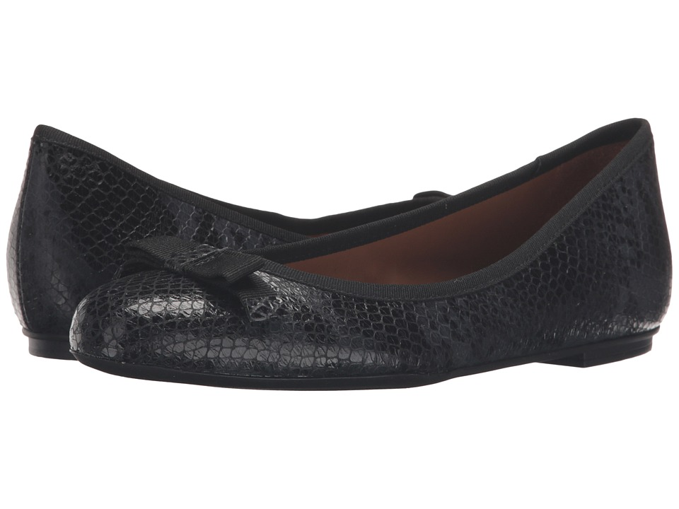 French Sole - Sara (Black Snake Print Leather) Women's Flat Shoes