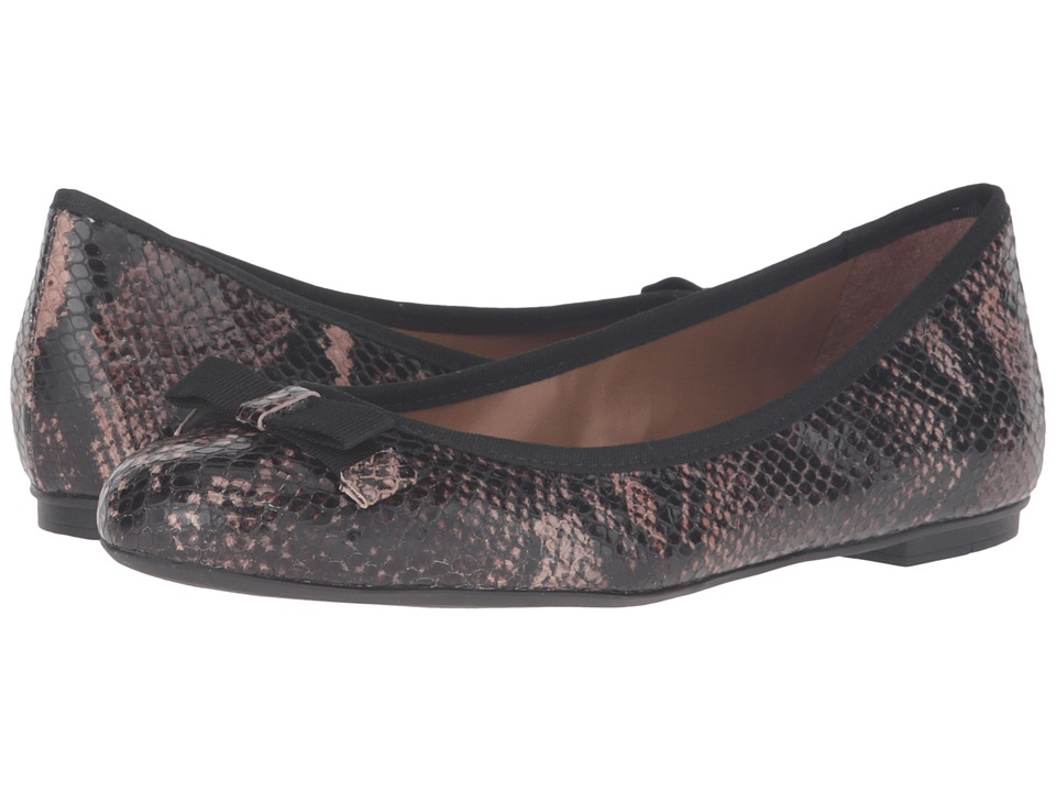 French Sole - Sara (Brown Snake Print Leather) Women's Flat Shoes