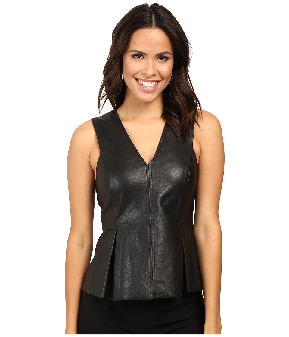 Rebecca Taylor - Vegan Leather Top (Black) Women's Clothing