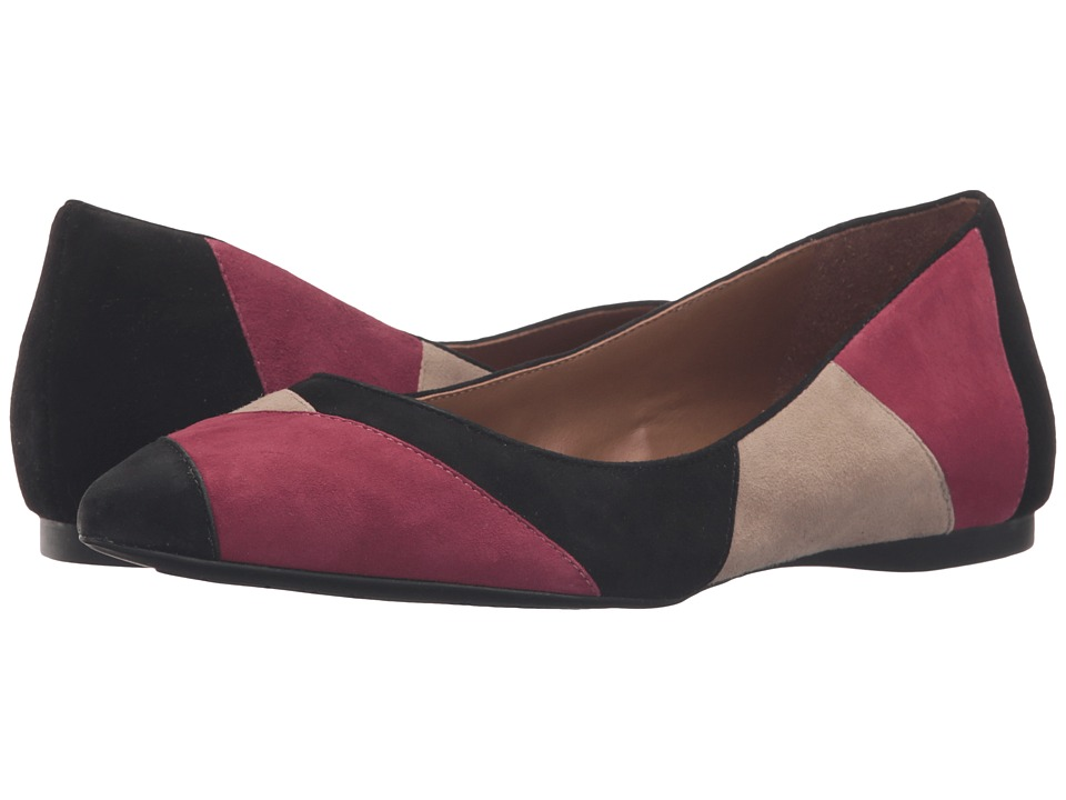 French Sole - Star (Burgundy/Taupe/Black Suede) Women's Dress Flat Shoes