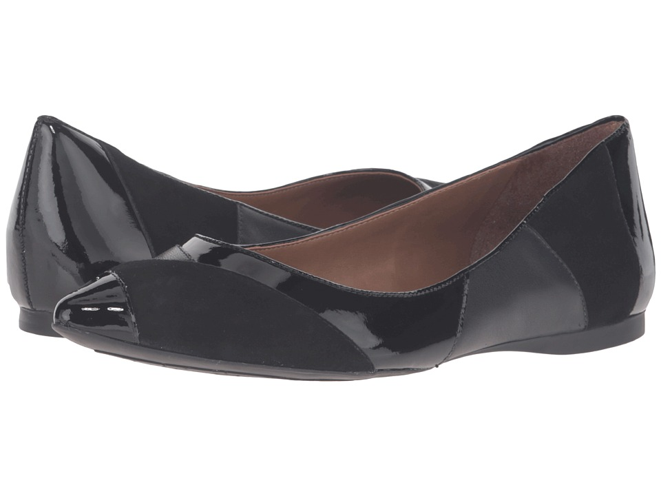 French Sole - Star (Black Suede/Patent) Women's Dress Flat Shoes