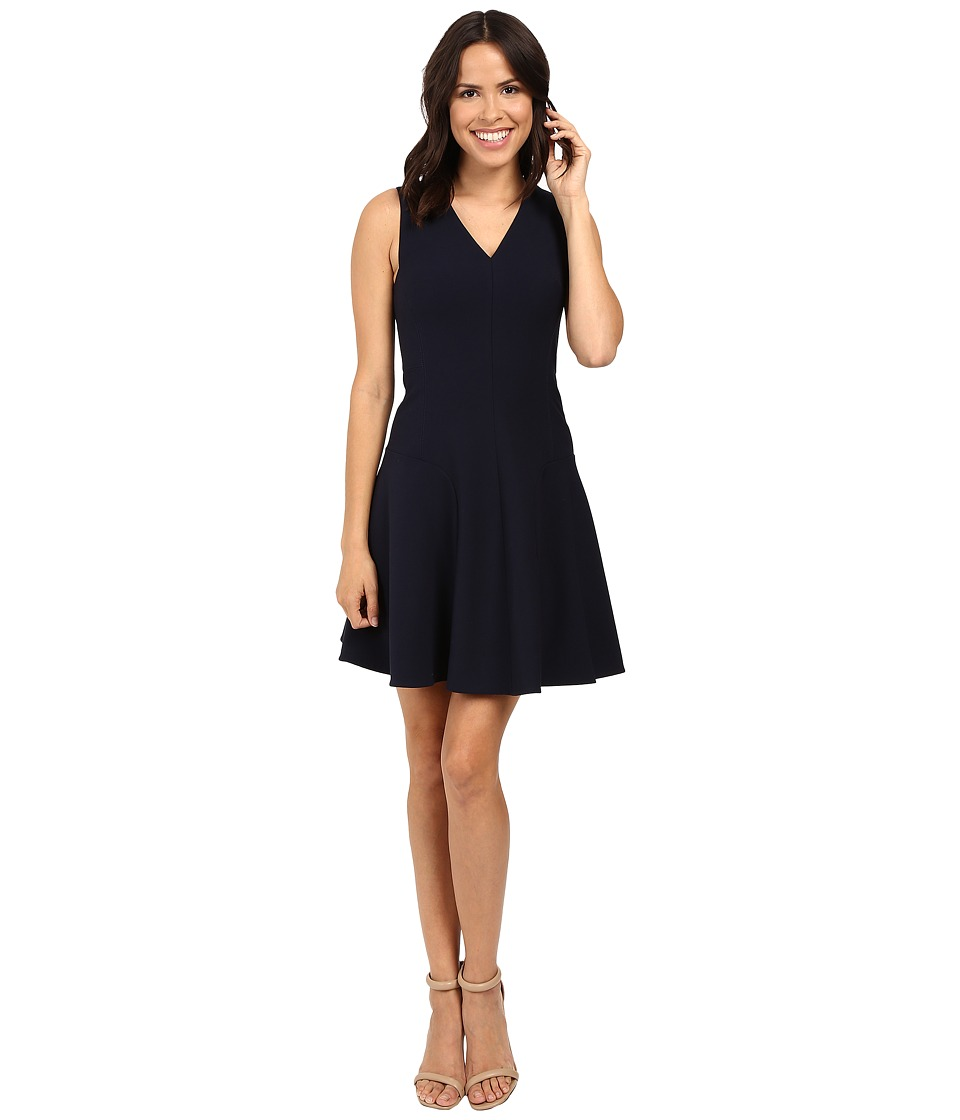Rebecca Taylor - V-Neck Suit Dress (Navy) Women's Dress