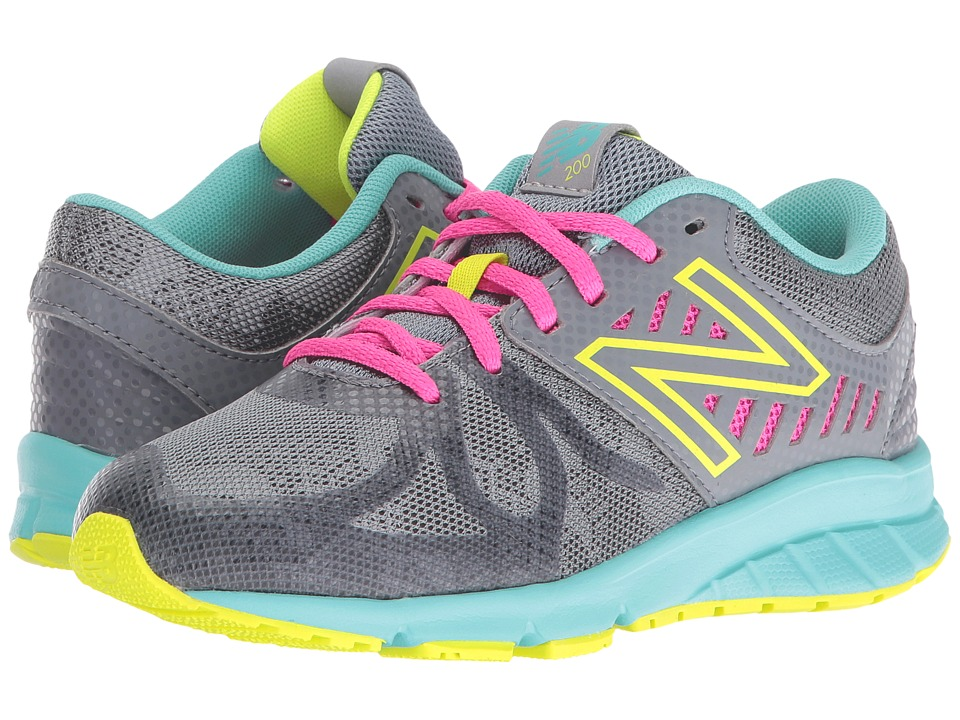 New Balance Kids - KJ200v1 (Little Kid) (Grey/Green) Girls Shoes