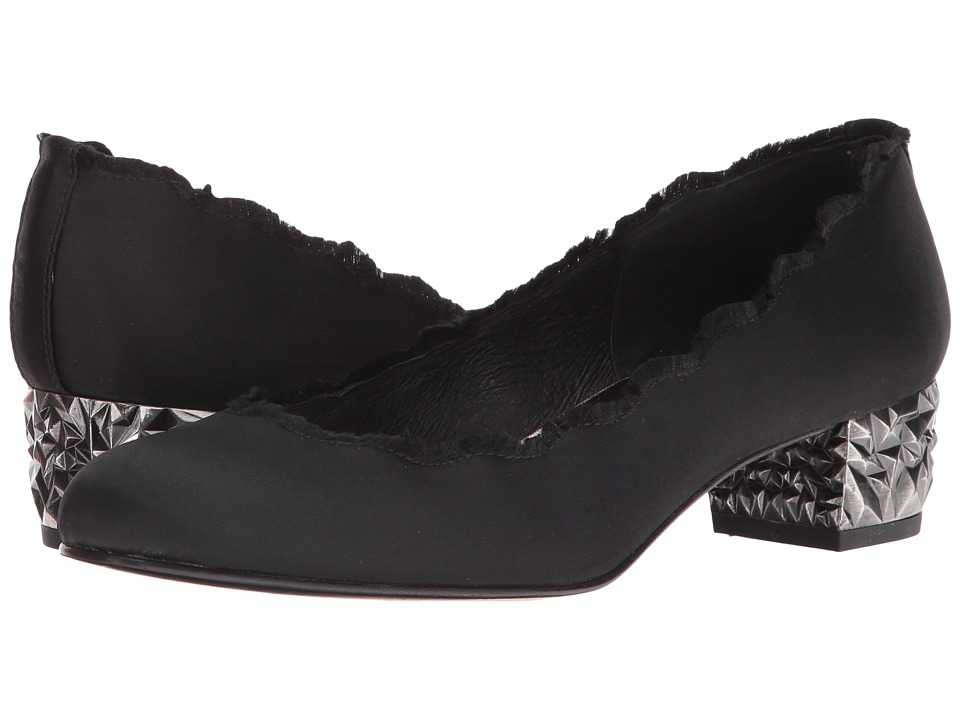 French Sole - Telegram (Black Satin) Women's Flat Shoes
