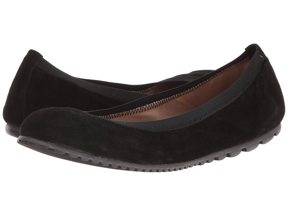 French Sole - Tempo (Black Velour Suede) Women's Flat Shoes