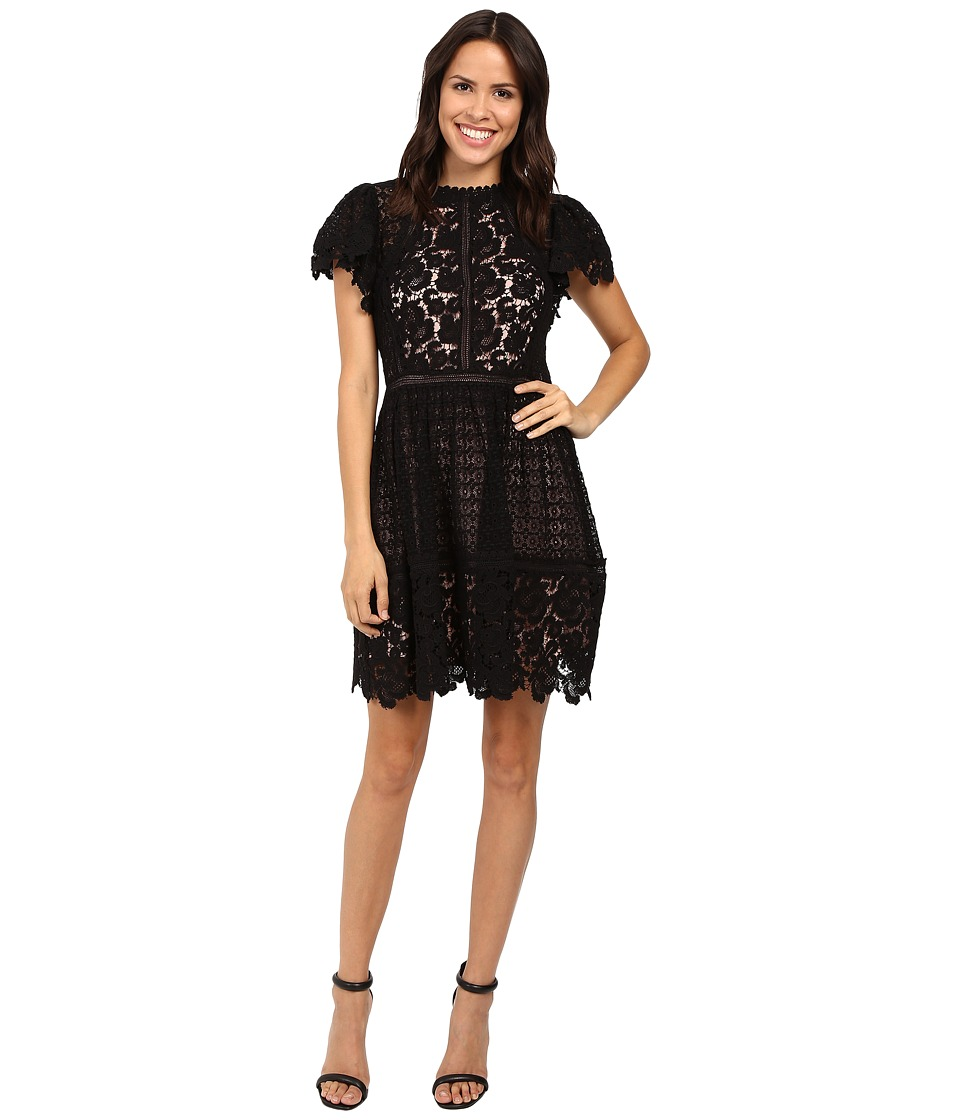 Rebecca Taylor - Short Sleeve Lace Mix Dress (Black) Women's Dress