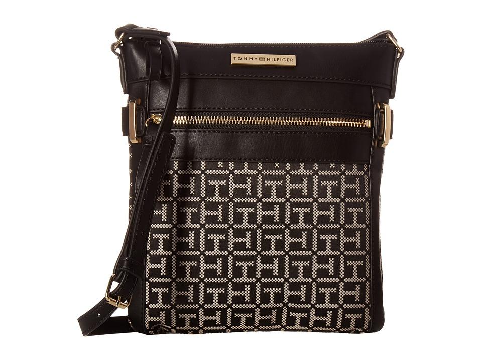 Tommy Hilfiger - Savanna - Monogram Jacquard North/South Crossbody (Black/White) Cross Body Handbags