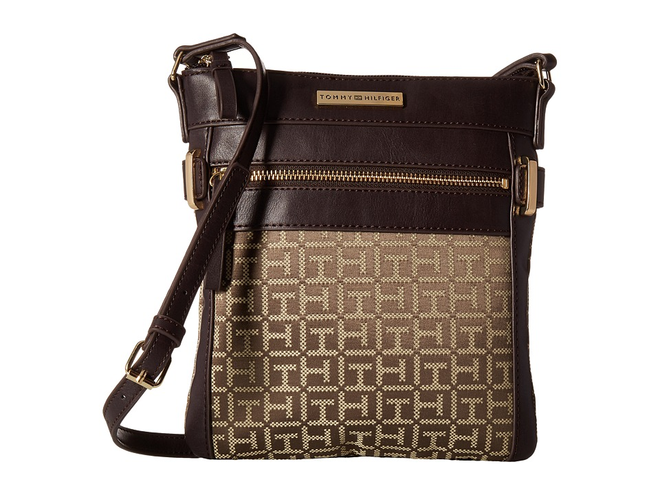 Tommy Hilfiger - Savanna - Monogram Jacquard North/South Crossbody (Tan/Dark Chocolate) Cross Body Handbags