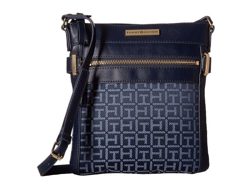 Tommy Hilfiger - Savanna - Monogram Jacquard North/South Crossbody (Navy/Lapis) Cross Body Handbags