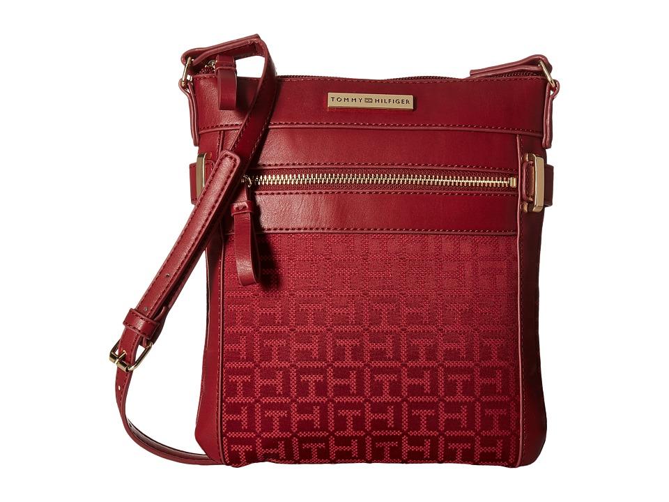 Tommy Hilfiger - Savanna - Monogram Jacquard North/South Crossbody (Dark Cherry Tonal) Cross Body Handbags