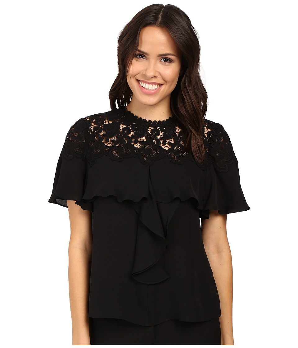 Rebecca Taylor - Short Sleeve Georgette Lace Top (Black) Women's Clothing