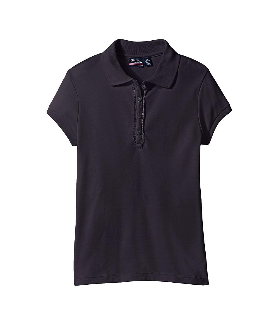 Nautica Kids - Girls Plus Short Sleeve Polo with Ruffle Placket (Big Kids) (Su Navy) Girl's Short Sleeve Pullover