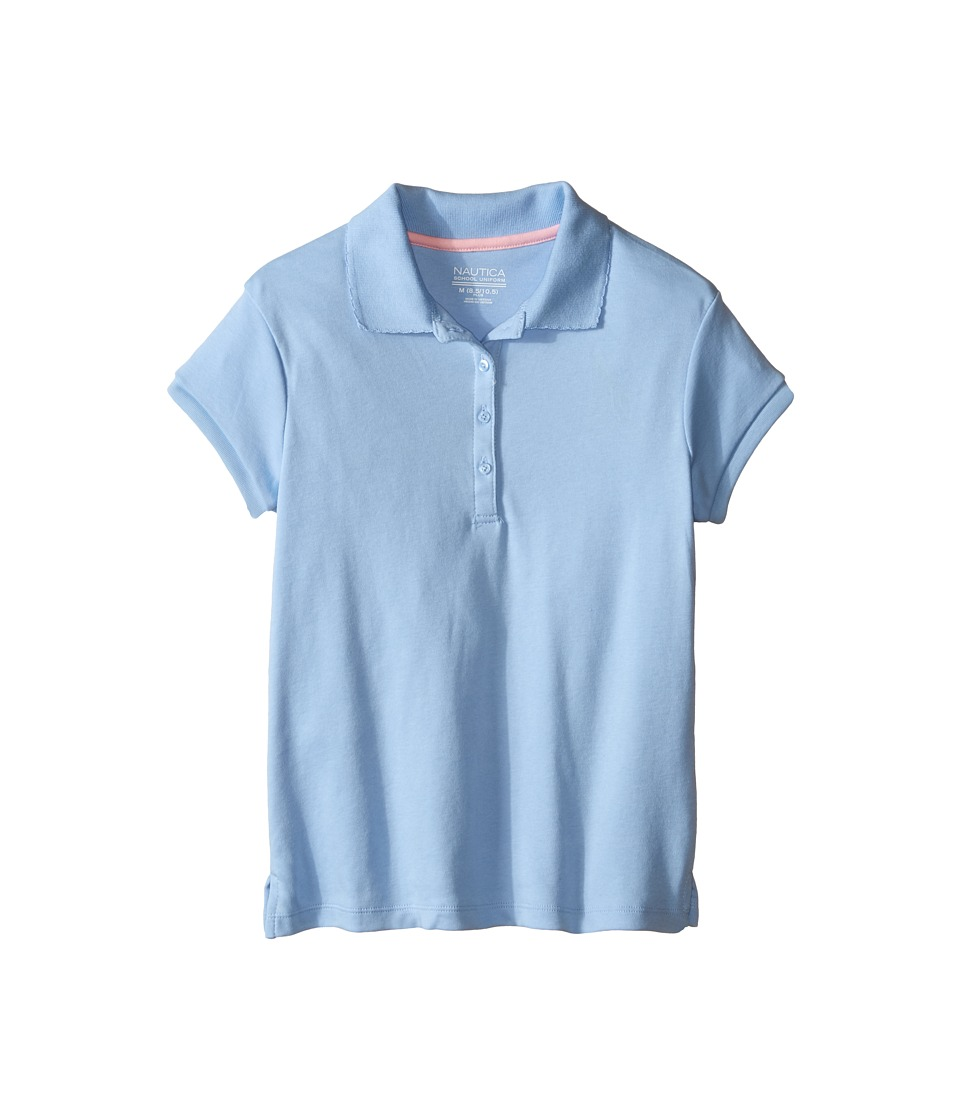 Nautica Kids - Girls Plus Short Sleeve Polo with Picot Stitch Collar (Big Kids) (Light Blue) Girl's Short Sleeve Pullover