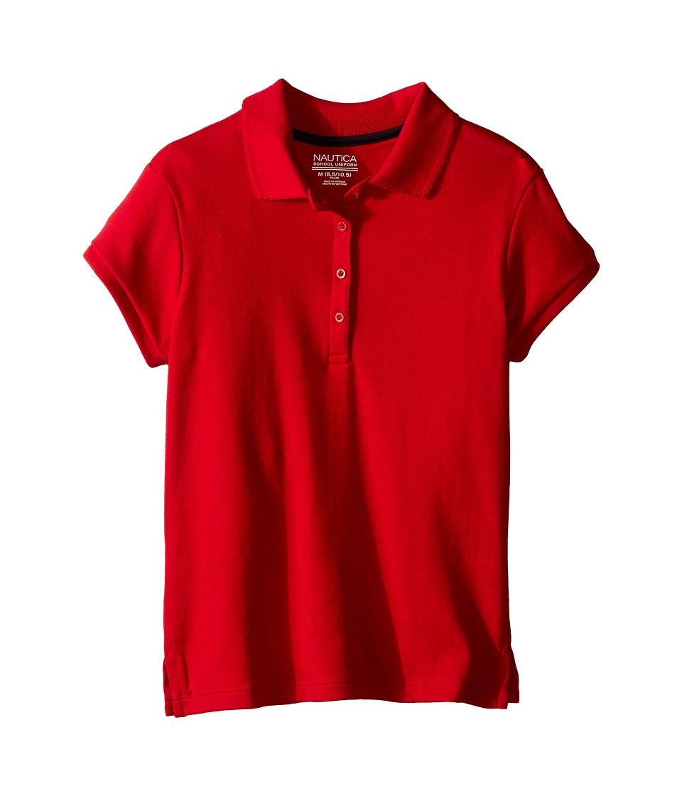 Nautica Kids - Girls Plus Short Sleeve Polo with Picot Stitch Collar (Big Kids) (Red) Girl's Short Sleeve Pullover