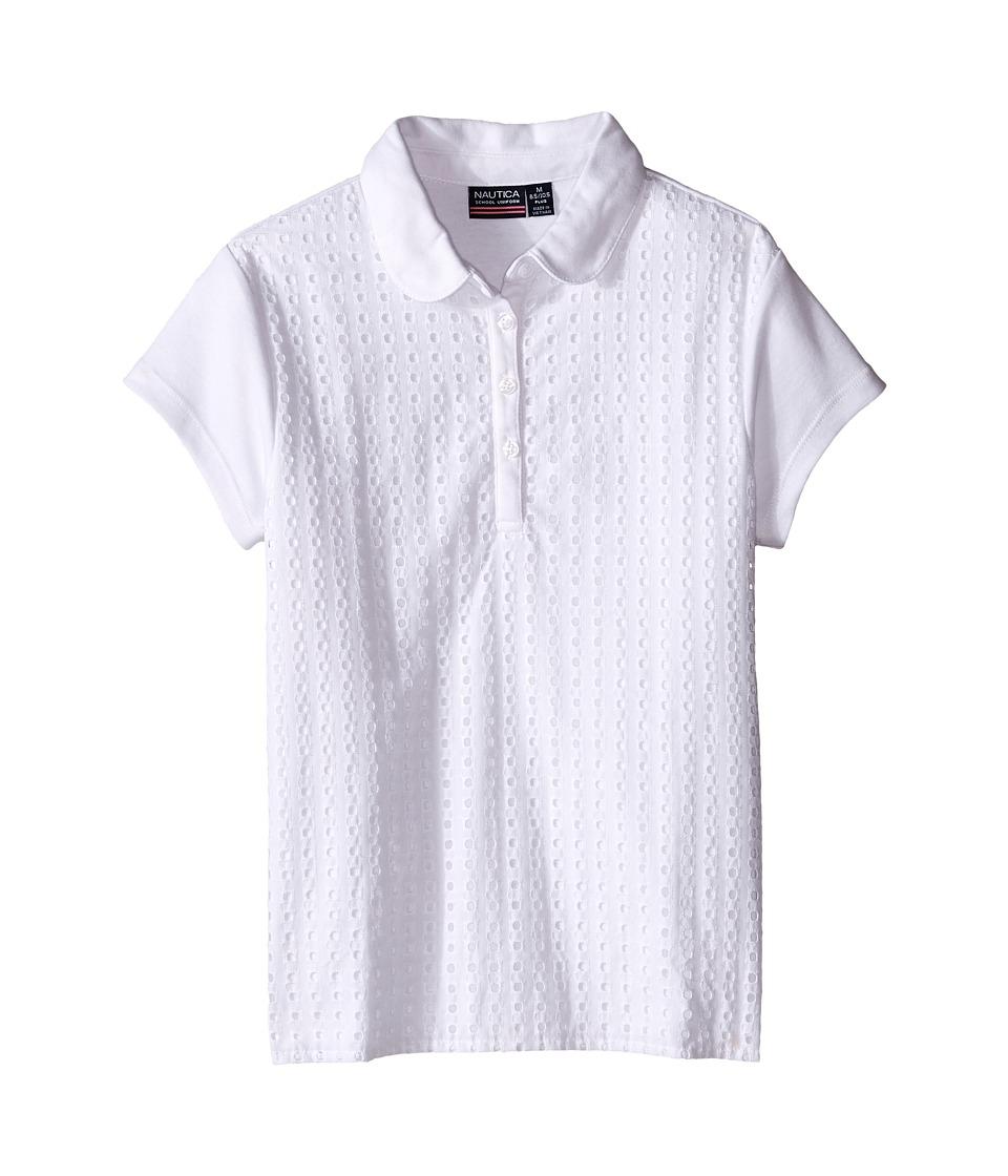 Nautica Kids - Girls Plus Short Sleeve Eyelet Polo (Big Kids) (White) Girl's Short Sleeve Pullover