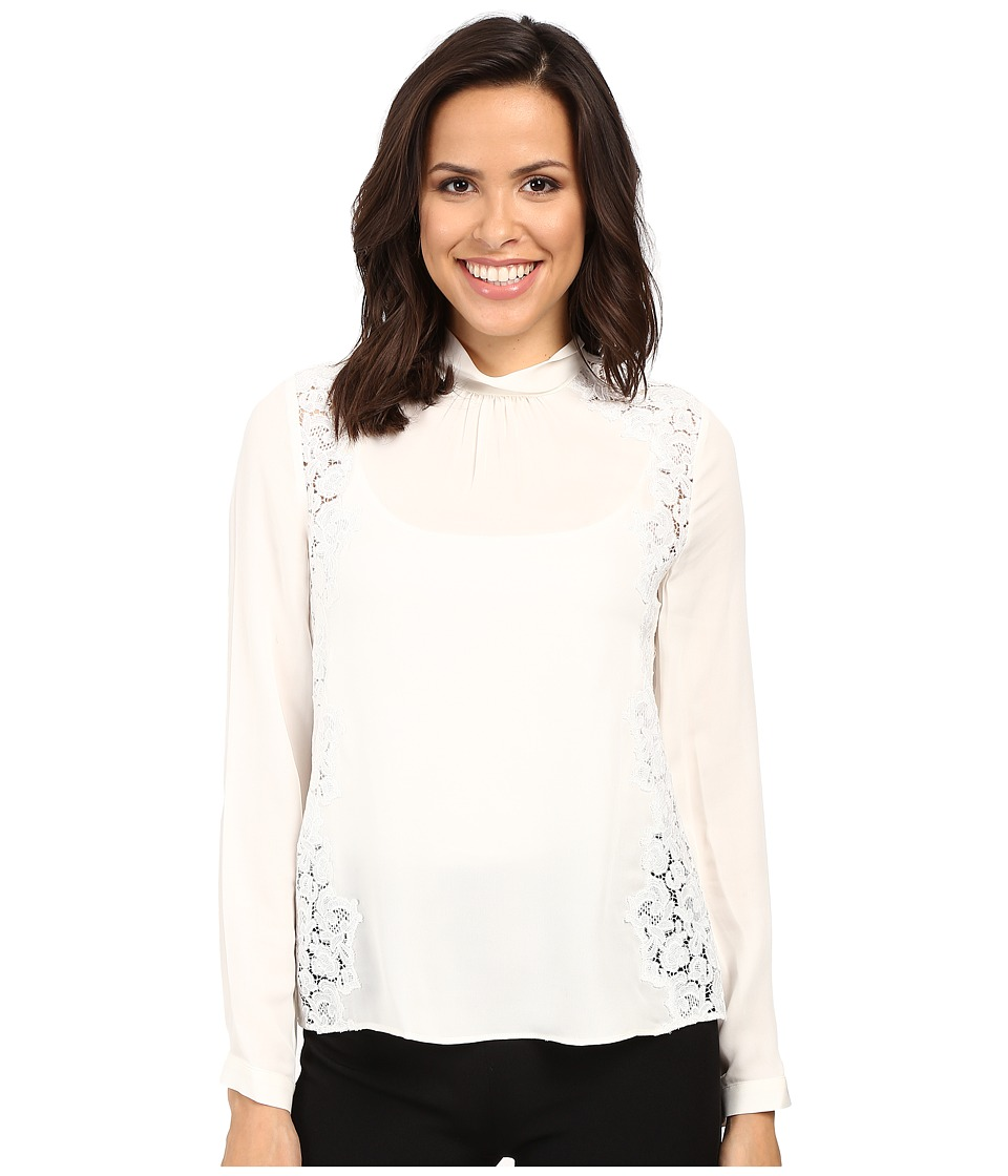 Rebecca Taylor - Long Sleeve Georgette Lace Top (Chalk) Women's Clothing