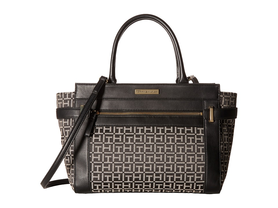 Tommy Hilfiger - Savanna - Monogram Jacquard Convertible Shopper (Black/White) Convertible Handbags