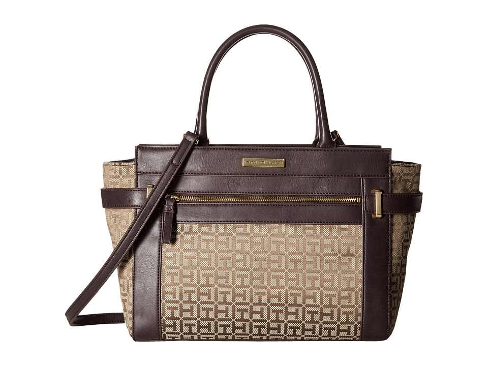 Tommy Hilfiger - Savanna - Monogram Jacquard Convertible Shopper (Tan/Dark Chocolate) Convertible Handbags