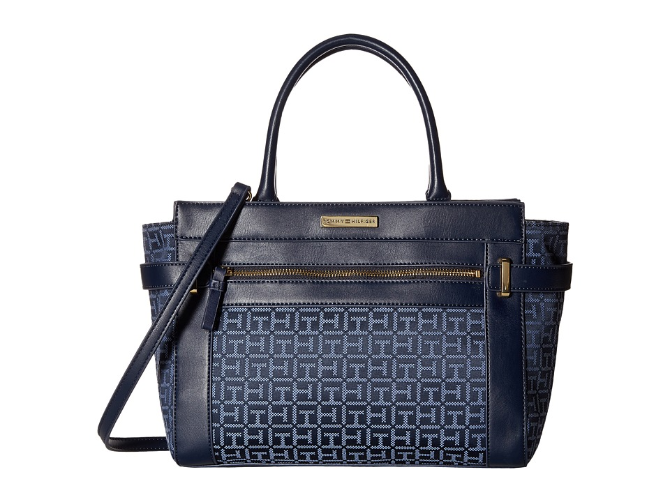 Tommy Hilfiger - Savanna - Monogram Jacquard Convertible Shopper (Navy/Lapis) Convertible Handbags