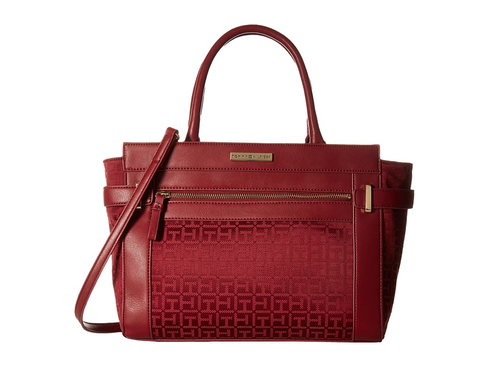 Tommy Hilfiger - Savanna - Monogram Jacquard Convertible Shopper (Dark Cherry Tonal) Convertible Handbags