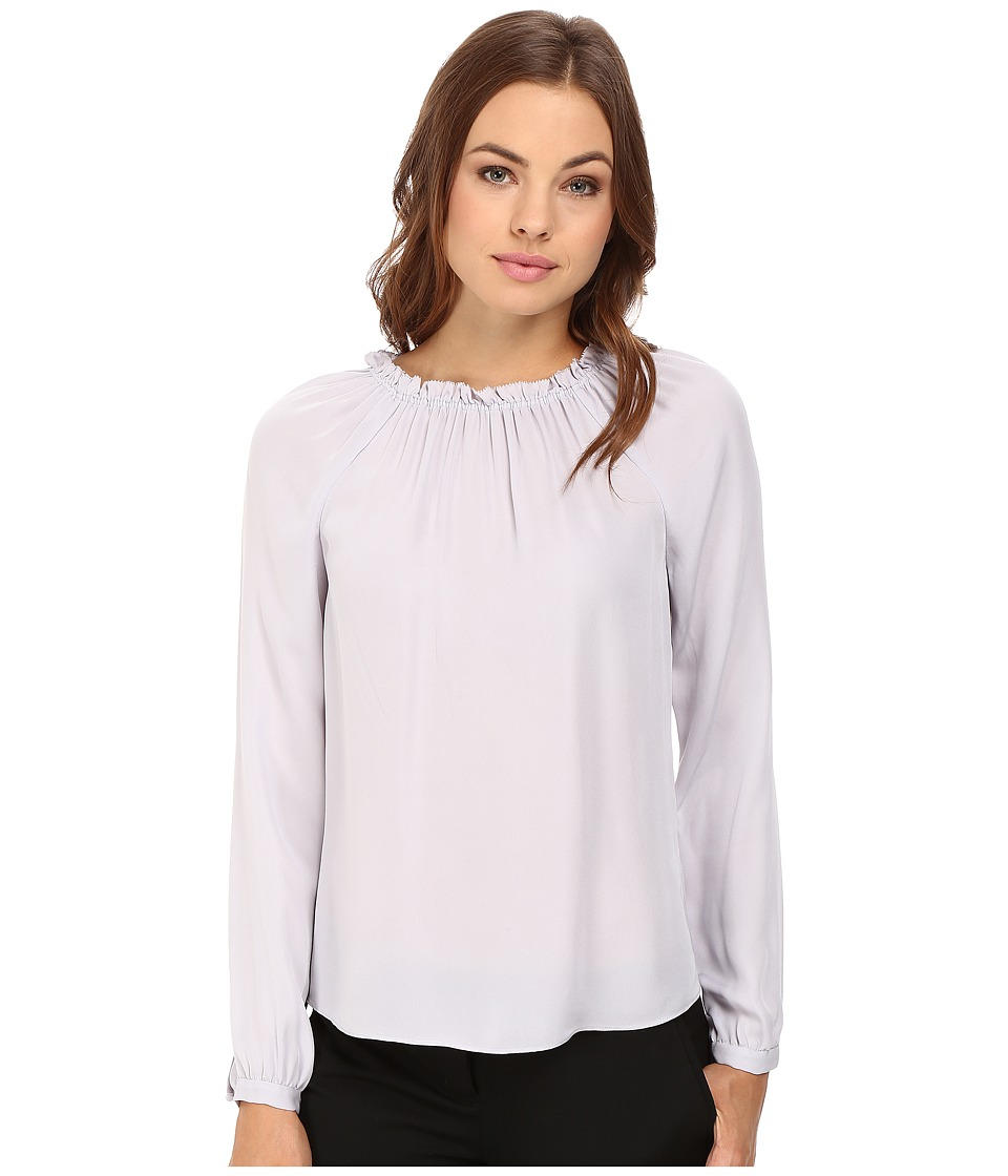 Rebecca Taylor - Long Sleeve Georgette Ruffle Top (Dusty Lavender) Women's Clothing