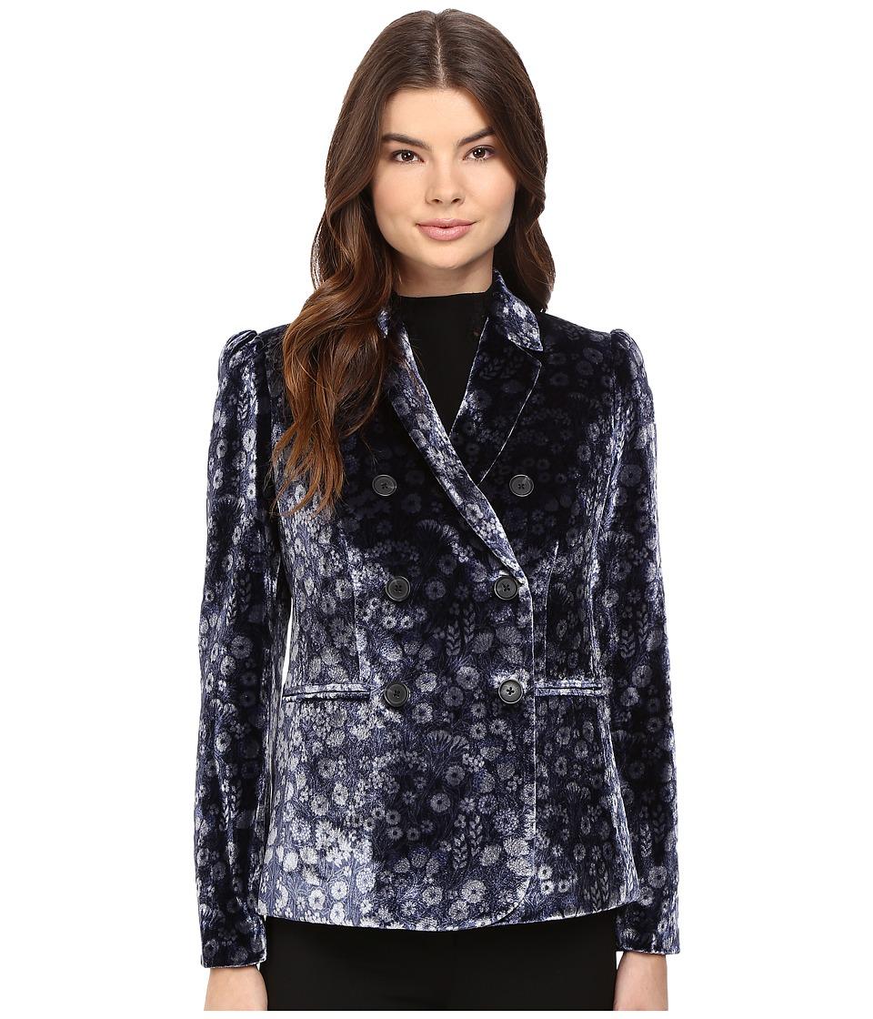 Rebecca Taylor - Liane Velvet Blazer (Navy Combo) Women's Jacket