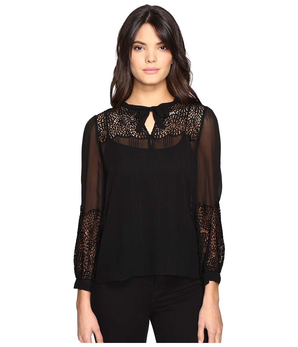 Rebecca Taylor - Chiffon Top with Lace (Black) Women's Clothing