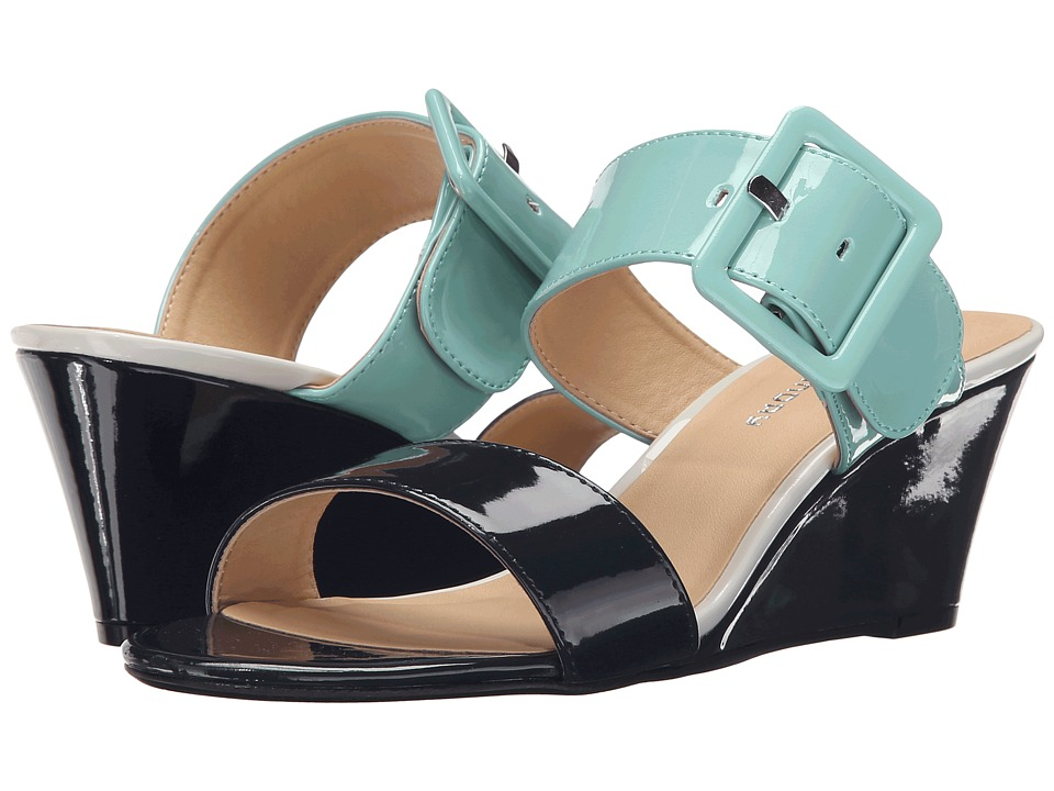 CL By Laundry - Tonya (Navy/Cool Mint Patent) Women's Wedge Shoes