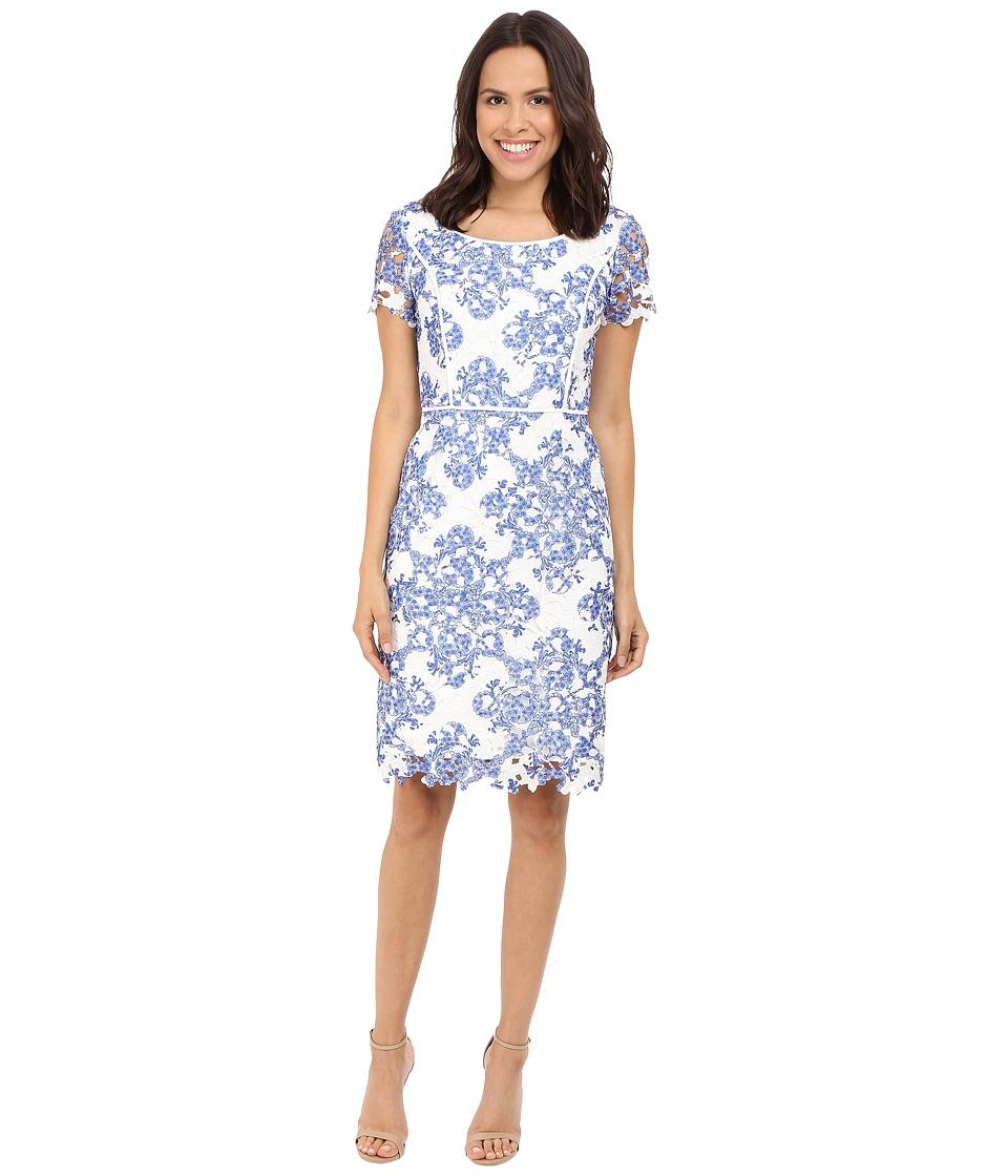 NUE by Shani Printed Etoil Lace Dress (Blue/White) Women